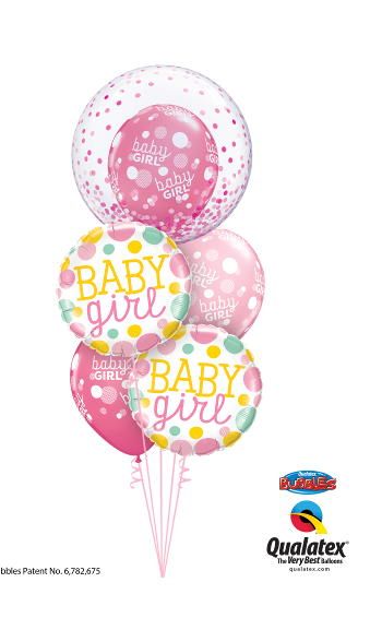 Baby Girl Bubble, Foil & Latex Cluster