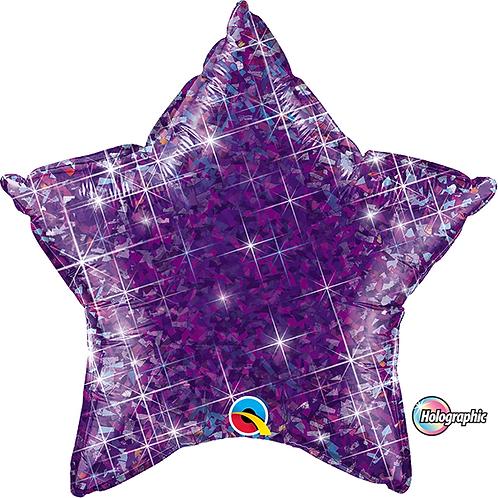"18"" Glittery Purple Star Foil Balloon"