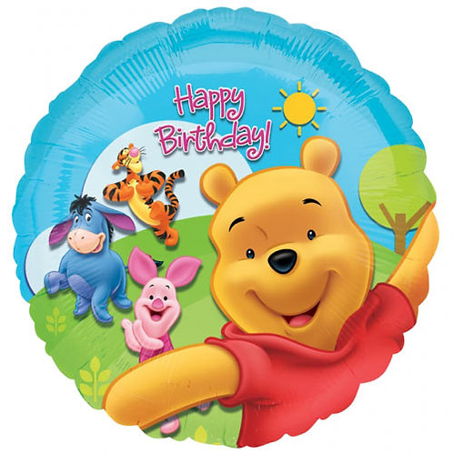 "Winnie The Pooh 18"" Foil Balloon With 2 Latex To Match"