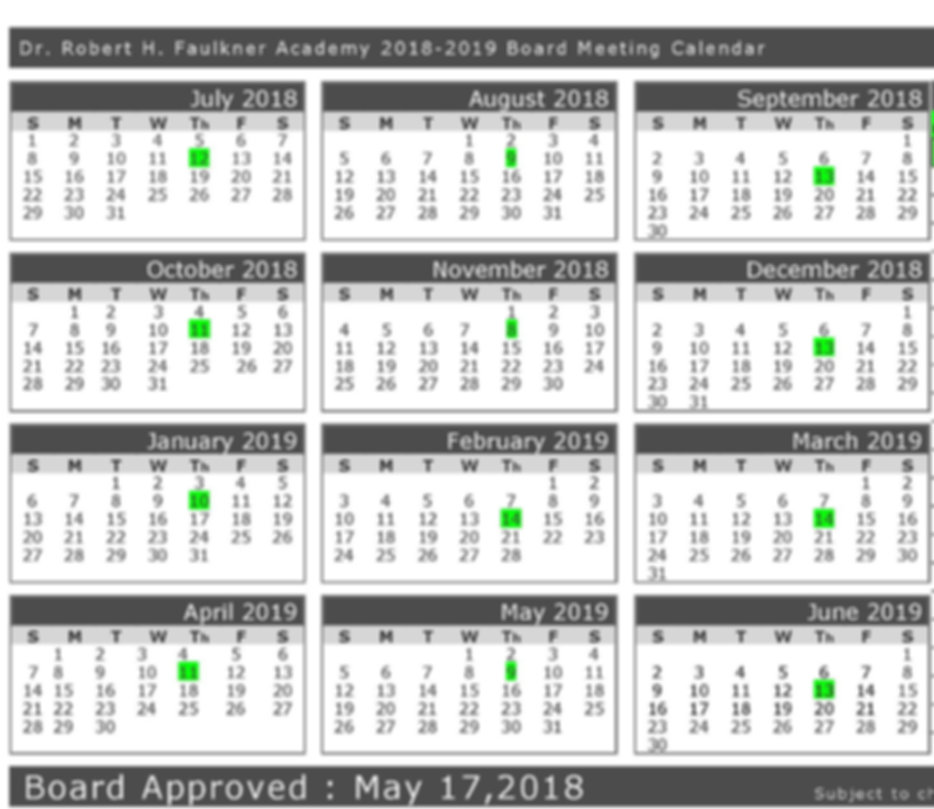 2018-2019 School Calendar Board Meeting_