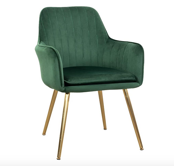 Modern Velvet Accent Chairs with Arms - Olive