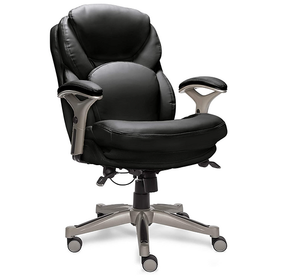 Serta Back in Motion Executive Mid-Back Chair with Lumbar Support Bonded Leather
