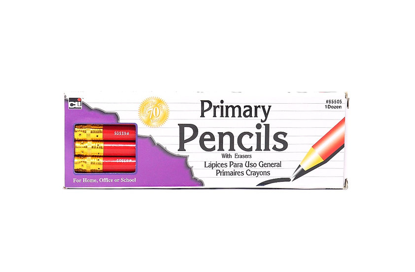 CLI Primary Pencils with Eraser (pack of 12)