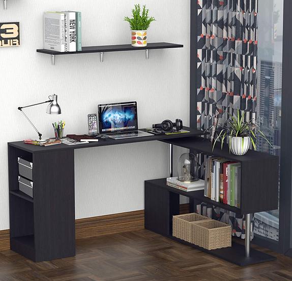 HOMCOM Modern S-Shaped Rotating Computer Desk with Storage (Black)