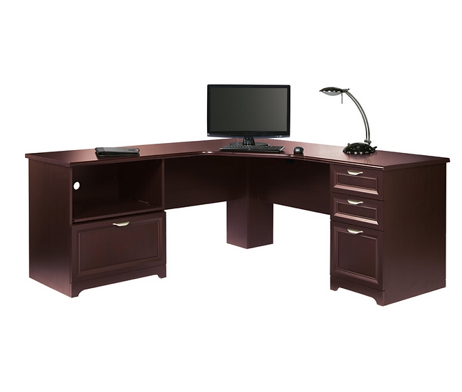 "Realspace Magellan Performance 71""W L-Shaped Desk : Cherry"