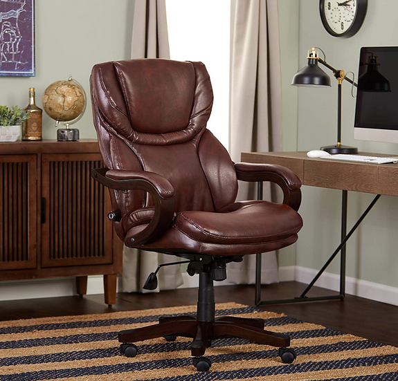 Serta Big & Tall Bonded Leather Executive Chair (Chestnut Brown)