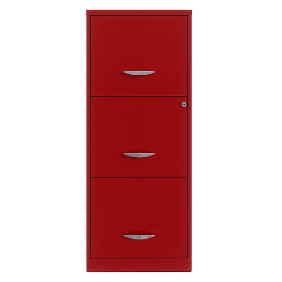 "18"" Red 3 Drawer Filing Cabinet w/ lock"