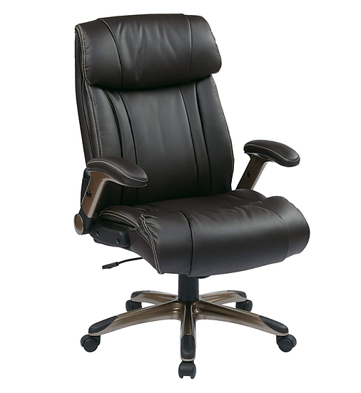Office Star Exec. Eco-Leather Chair with Adjustable Padded Flip Arms (Espresso)