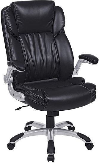 SONGMICS Extra Big Office Chair, High Back PU Executive Chair with Thick Seat an