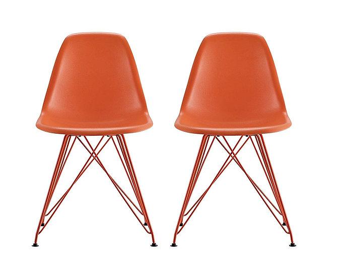 DHP Mid Century Modern Chair with Wooden Legs Orange