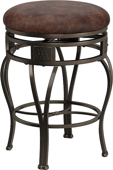 Hillsdale Montello Backless Swivel Counter Stool, Old Steel Finish with Brown Fa
