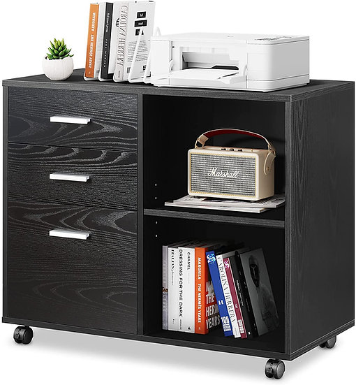 DEVAISE 3-Drawer Wood File Cabinet, Mobile Lateral Filing Cabinet, Printer Stand