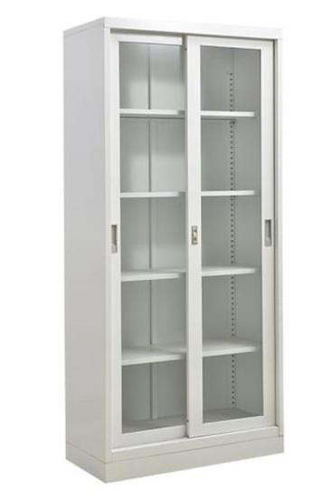 Danmayer 5-Shelf Cabinet with Sliding Glass Doors