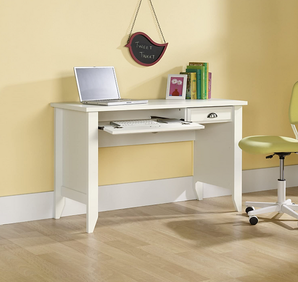 Sauder Shoal Creek Computer Desk with Flip Down Keyboard Tray (Soft White)