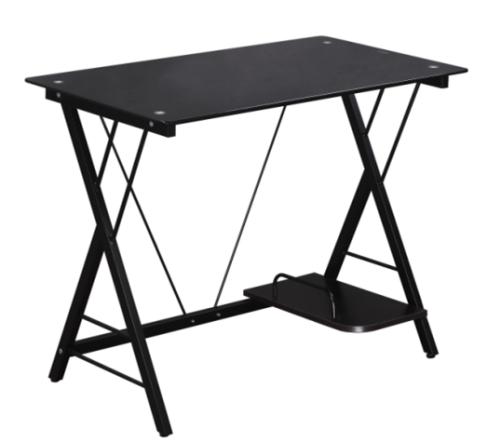 SIT Glass Computer Desk With Shelf , Black
