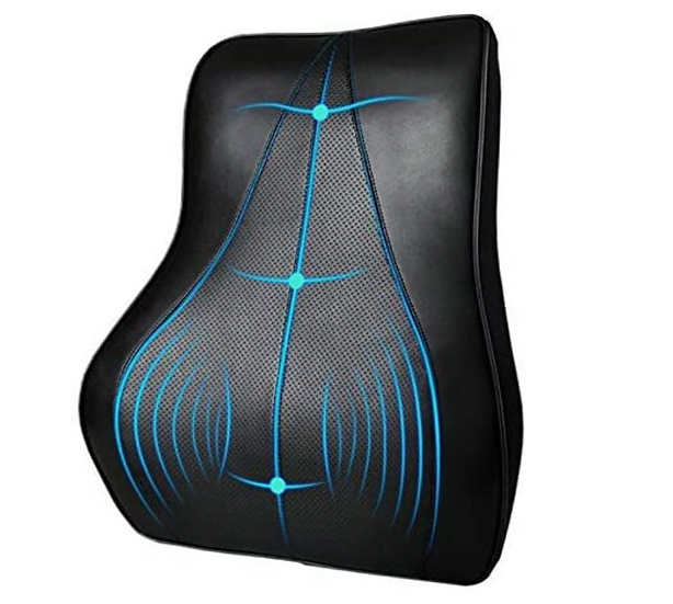 PU Leather Lumbar Support Backrest Pillow with Memory Foam