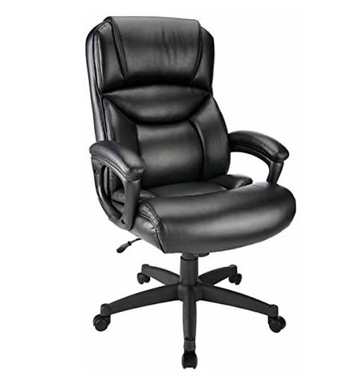Realspace Fennington Bonded Leather High Back Chair (Black)