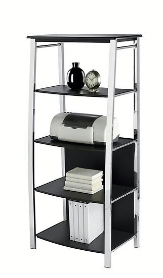Realspace Mezza 4 Shelf Bookcase (Black| Chrome)