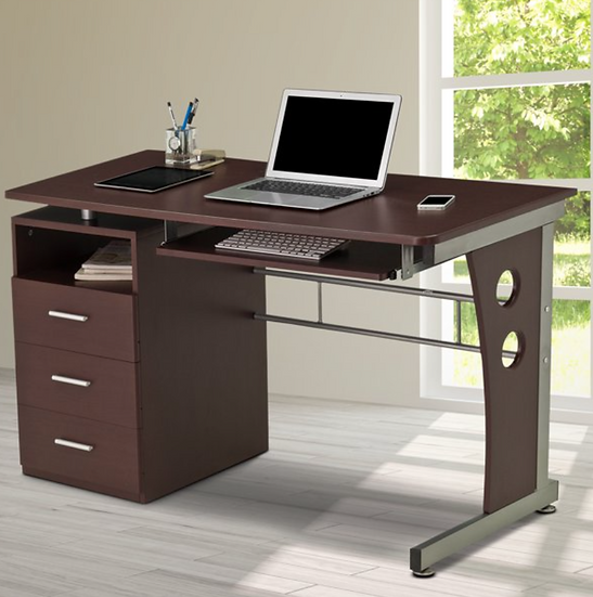 Techni Mobili Computer Desk with Keyboard Tray and Drawers (Chocolate)