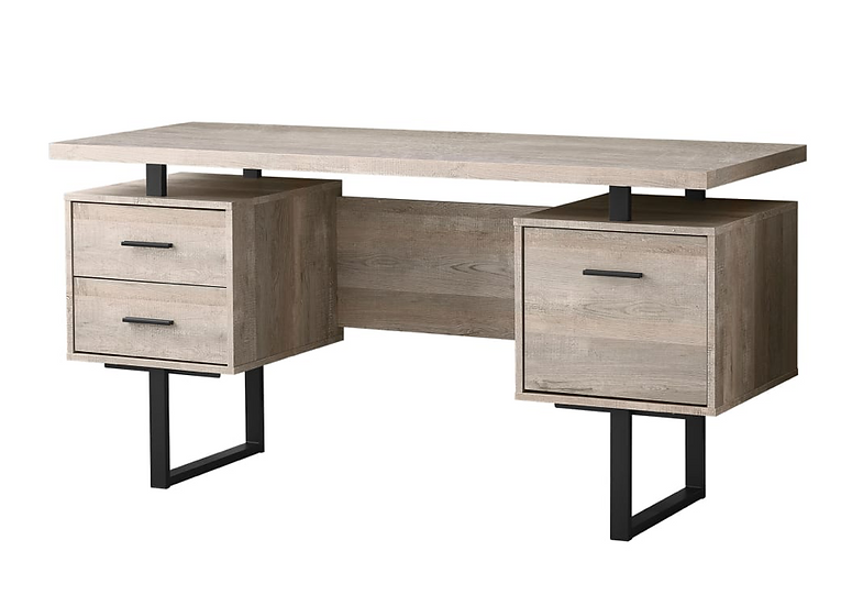 Monarch Specialities Laminate Floating Top Computer Desk - Taupe/Black