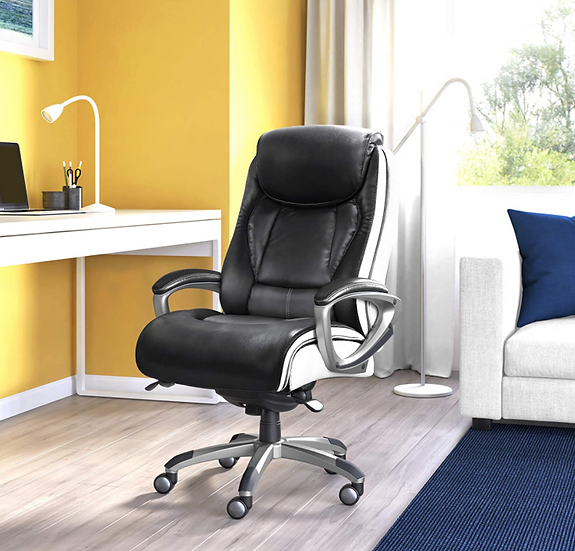 Serta Smart Layers Leather and Mesh Ergonomic Chair (Black & White)