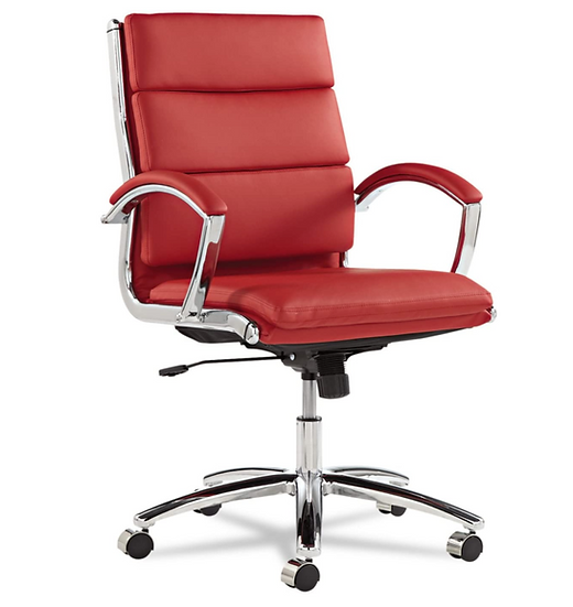 Alera Neratoli Series Mid-Back Swivel/Tilt Chair (Red Soft Leather)