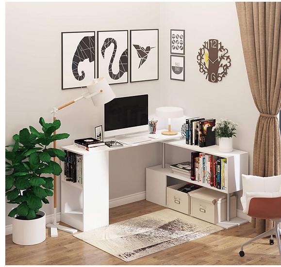 HOMCOM Modern S-Shaped Rotating Computer Desk with Storage (White)