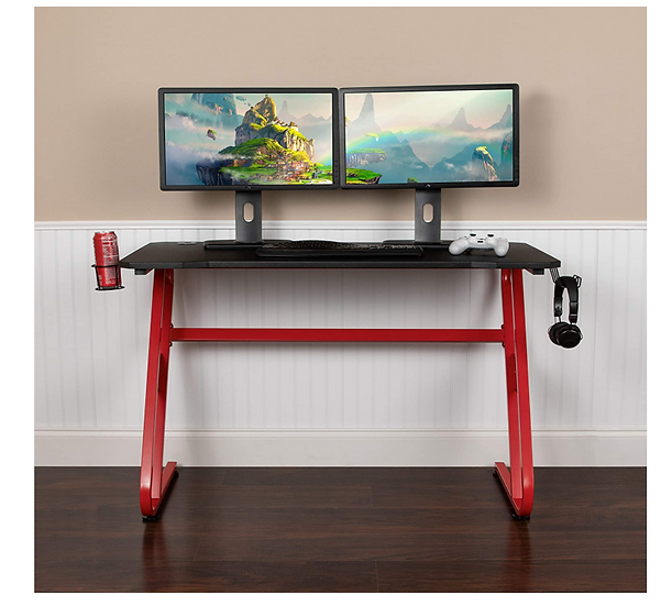 Flash Gaming Desk with Cup Holder and Headphone Hook (Red & Black)