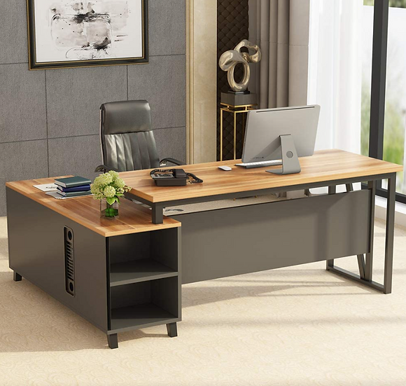 "Tribesigns L-Shaped 55"" Executive Workstation with 47"" File Cabinet Storage"