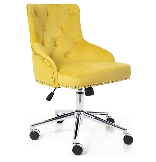 Irene Modern Mid-Back Tufted Velvet Fabric Task Chair with Soft Seat (Yellow)