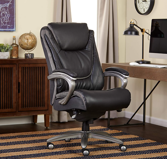Serta Big & Tall Exec High Back Bonded Leather Chair with Layered Body Pillows