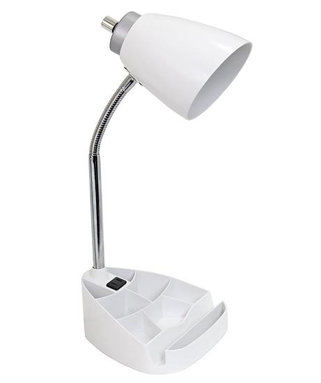 Limelight Gooseneck Desk Lamp with Organizer (White)