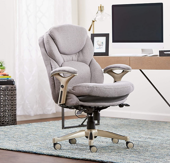Serta Back in Motion Executive Mid-Back Chair with Lumbar Support (L. Grey)