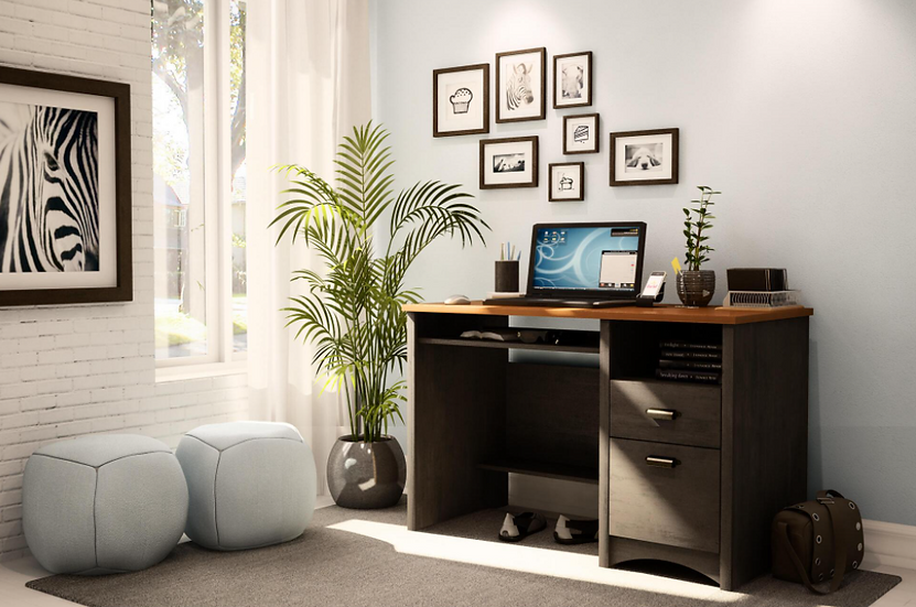 South Shore Computer Desk w/ 2 Drawers and Keyboard Tray (Ebony|Spice Wood)