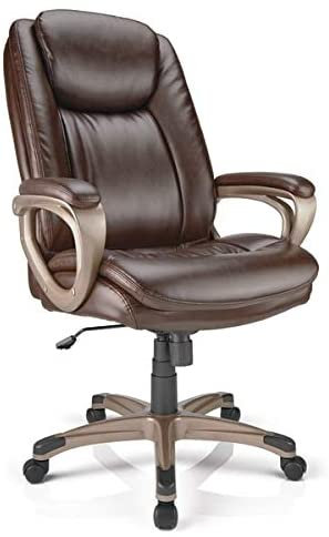 Realspace Tresswell Bonded Leather High-Back Chair, Brown