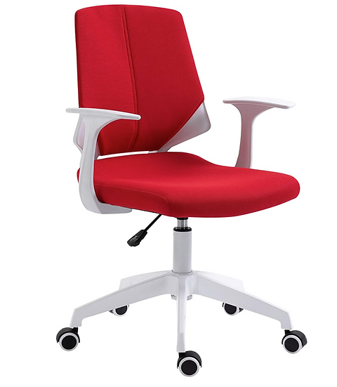 Techni Mobili Height Adjustable Mid-Back Task Chair (Red & White)