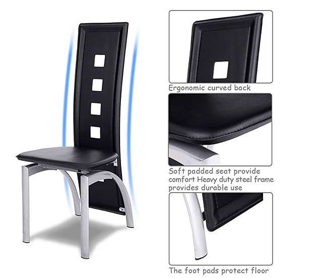 Tangkula Dining Iron Frame High Back Chair