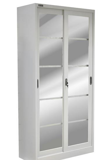 Danmayer 5 Shelf Cabinet with Sliding Glass Doors (Grey)