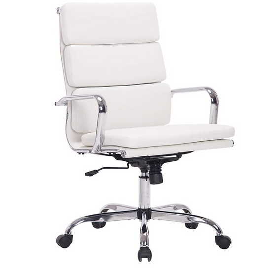 Sidlani White PU Leather Home or Work Office Chair