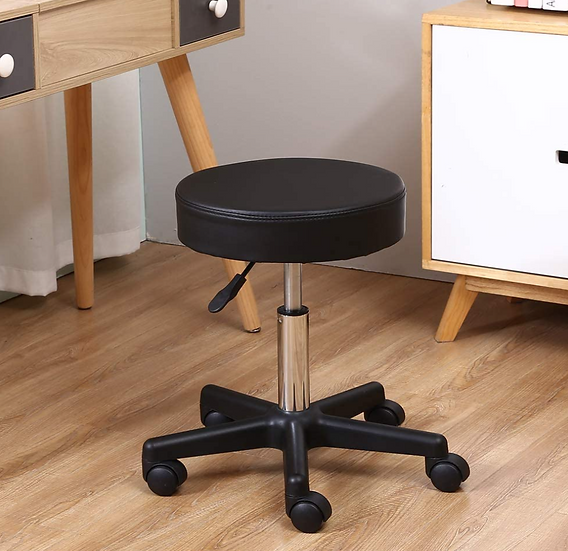 Round Rolling Height Adjustable PU Leather Stool