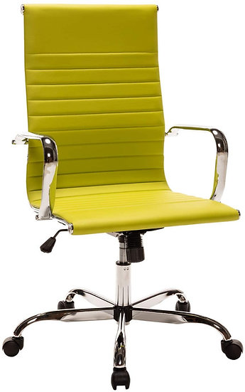 FULONG High Back  Chair with Casters, Ribbed Grain of Leather - Green