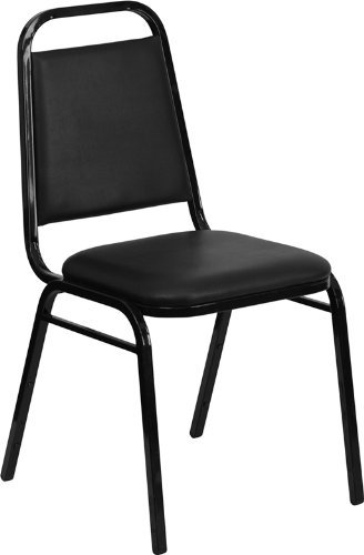 Flash Furniture HERCULES Series Trapezoidal Back Stacking Banquet Chair in Black