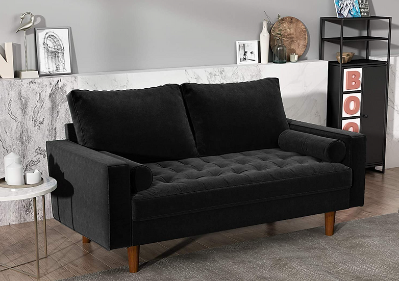 Black Velvet Loveseat with Button Tufted Details and 2 Cylindrical Toss Pillow