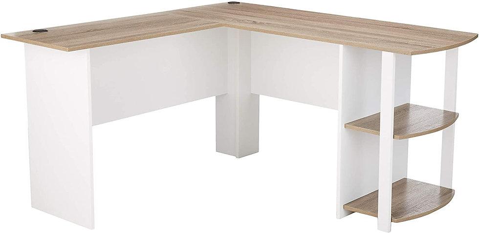 Ameriwood Home Dakota L-Shaped Desk (White/ Sonoma Oak)