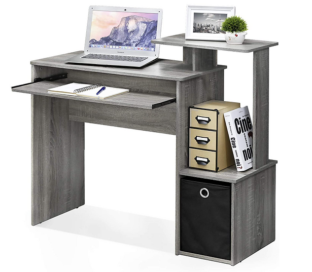 Furinno Home Computer/Writing Desk with Storage (French Oak Grey/Black)