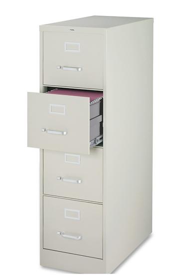 Lorell Vertical 4-Drawer File Cabinet (Light Grey)