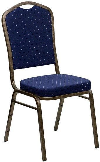 Navy Blue with Gold Polka Dots Banquet Stack-able Chair