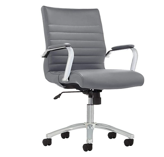Realspace Winsley Bonded-Leather Mid-Back Manager's Chair (Gray)