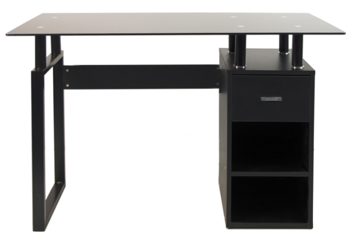 SIT Tempered Glasstop Office Desk with Open Shelves and Drawer (Black)
