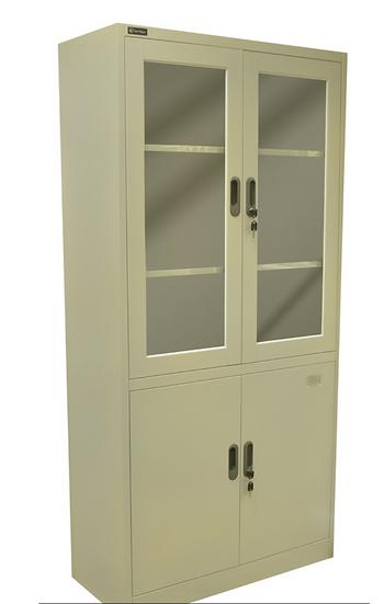 Danmayer 5 Shelf Cabinet w/ Glass and Swing Doors (Beige)